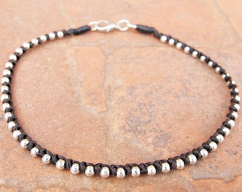 Dark Brown Chain Ankle Bracelet with Silver Color Bead