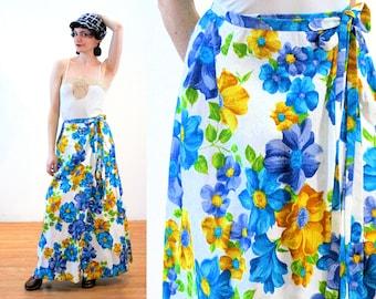 70s Floral Maxi Skirt S, Hawaiian Wrap Blue White Tropical Flower Print Matelasse Leslie Fay Vintage, Small