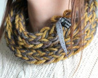 Smokey Grey & Mustard Multi Ring - Handwoven, Wool Scarf