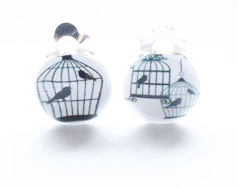 Deux bird cage clip on earrings