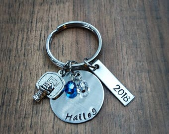 Hand Stamped Personalized Basketball Keychain - Girls Basketball Team Gift - Basketball Gifts - Basketball Senior Gift - Basketball Gift