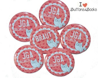 10 x wedding buttons hen OWL
