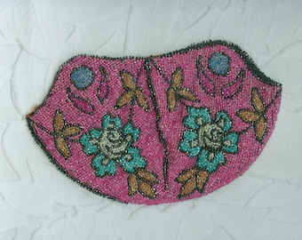 Vintage Pink Floral Beaded Drawstring Bag Purse Needs Lining and Assembly