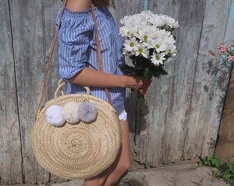 Large round basket with PomPoms