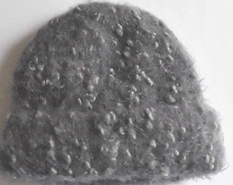 Double layered winter hat for women hand knit.  M size beanie hat. Charcoal gray ultra soft POODLE yarn.  Ready to ship