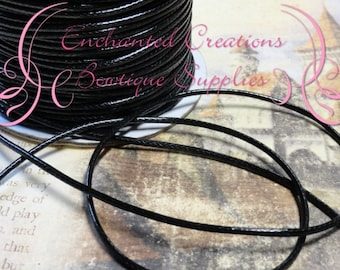 2mm Braided Black Wax Cord 5 yards, Bracelet Making, Necklace Cord, Cotton Waxed Cord, Plastic Coated Cord, DIY Jewelry Cord, Jewelry String