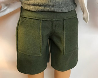 Olive Green Cargo Shorts for 18 inch boy dolls 18 inch boy doll clothes