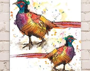Wood Mounted Pheasant Print