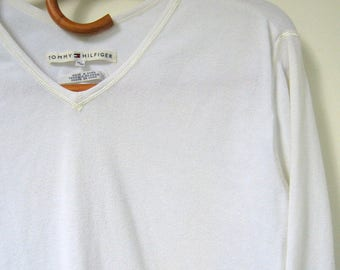 Vintage Tommy Hilfiger Top - 1990's, White top, Long sleeves, V-neckline, Heavy top, 100% Cotton, Size medium