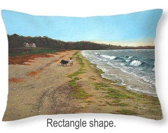 Throw Pillow, Along the shore, size of 14x14 to 26x26 inches Fine Art Painting by Christopher Shellhammer