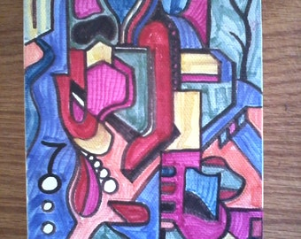 """Tiny 4"""" X 6"""" With Wild Themes / Campus of the Mind --- Early Hyper-Cubism of Nathan Coppedge"""