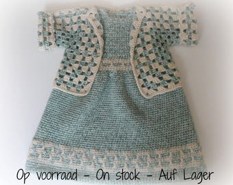 Crocheted Baby Set: Dress + Bolero Mint Mosaic