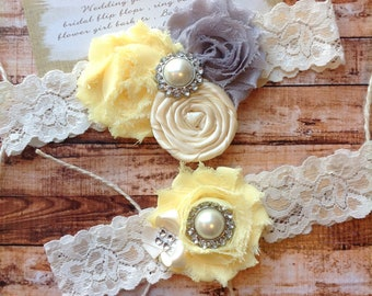 wedding  garter  / bridal  garter / grey and yellow /  lace garter /. Vintage wedding garter