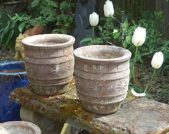 Vintage concrete planter etsy 2 antique handmade hand crafted wide mouth round cement concrete garden planters pots workwithnaturefo