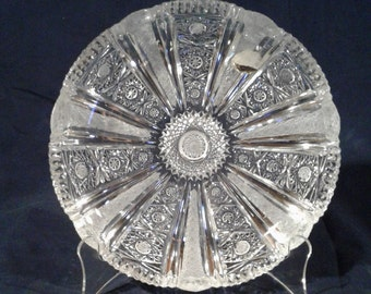 Vintage Lead Crystal Cut Glass Hand-Etched Plate