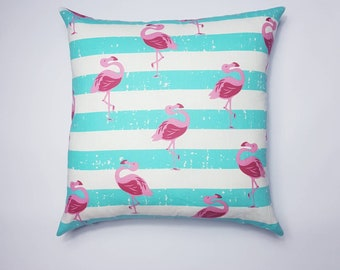Flamingo cushion cover, flamingo pillow, flamingo cushion, flamingo print, flamingo decor, 18 inch cover, blue and white, striped flamingo.