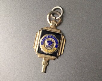 Vintage Knoxville High School Pendant - Circa 1930s Art Deco Enameled Gold Plated Brass Pendant