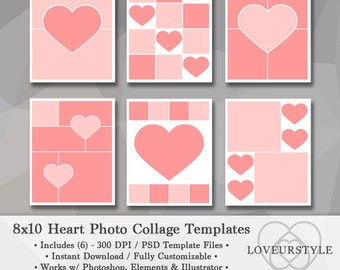 8x10 Photo Template Pack, Heart Templates, Photo Collage, Scrapbook Templates, Photography Templates, Collage Template, Instant Download
