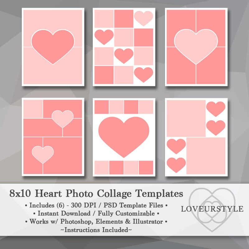 8x10 Photo Template Pack Heart Templates Photo Collage