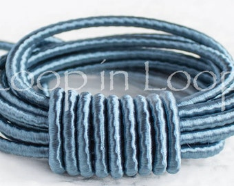 15%OFF Sky Blue SILK cord, Wrapped Silk Satin Cord rope 3.5 mm thick, organic natural hand spun silk, polyester core, for Jewelry