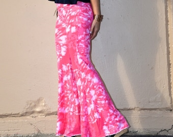 TIE DYE FLARE leg wide leg palazzo 70's hippie boho chic yoga resort lounge beach festival dance hoop bell bottoms