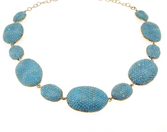 Turquoise Blue Necklace Rococo Pebbles by JCM