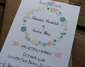 Romantic Rustic Wedding Save the Date Invitation / Floral Wreath Save the Date / Calligraphy Font / Garden Party Invitation / Magnet Invite