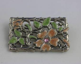 Vintage Floral Brooch, Flower Pin, Flower Brooch, Small Brooch, Rectangular Brooch, Rectangular Pin, Summer Jewelry, Mom Gift, Dainty Brooch