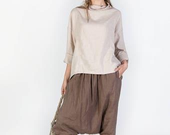 Linen Tunic Top, White blouse, Natural linen Blouse, Loose Linen Shirt, Long Sleeves, White Linen Shirt, Plus Size Shirt