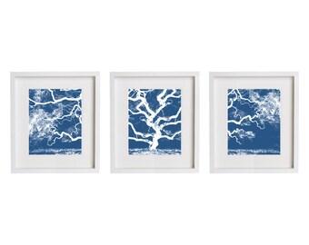Three Prints - Blue Tree Print Set Wall Art - Set of 3
