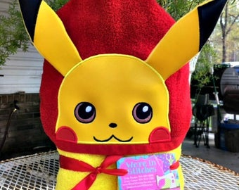 Pikachu hooded towel, Pokemon hooded towel, beach towel, bath towel, pool towel, Children's gift, birthday gift, Pikachu towel, Pokemon gift