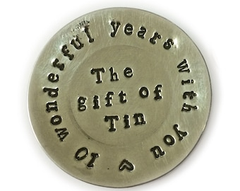 10th Anniversary Gift. Hand Stamped Romantic Mini Plate cast in Tin
