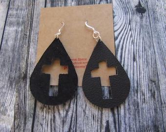 Genuine leather black cross earrings