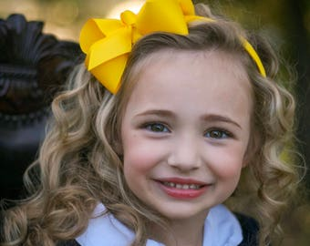 Yellow Bow Headband - Bow Headband, Yellow Headband, Yellow Hair Bow, Large Hair Bows, Large Yellow Hair Bow, Girl's Headband, Virginia Bows