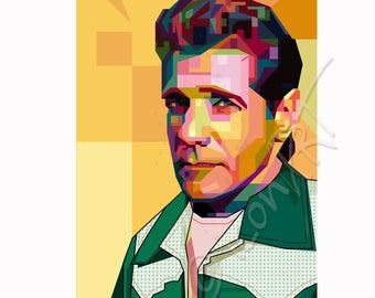 """Portrait """"Glenn""""  - FRAMED ART, personalized gift, name, City, Date, pop art, Wall Art, gift for women, gift for men"""