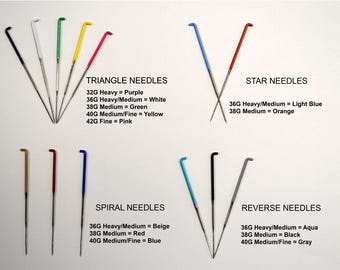 Felting Needle SAMPLE PACK - 13 Different Needles / Color Coded Variety Pack / needle assortment with triangle, star, spiral, and reverse