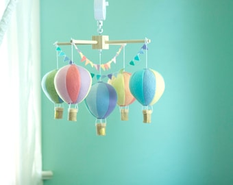 Hot Air Balloon baby crib mobile, balloon nursery, travel theme nursery, baby shower gift