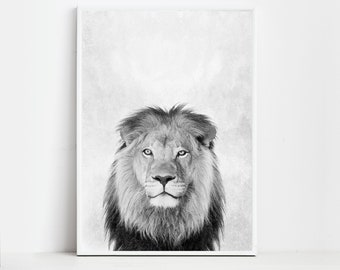 Lion Art Lion Print Lion Wall Art Print Lion Poster Digital Download Print
