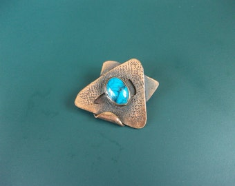 Vintage Copper & Cabochon Turquoise Modernist Brooch Pin