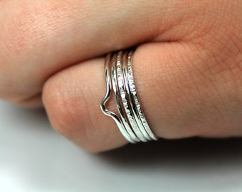 Super Skinny Stacking Set, Sterling Silver Rings, Dainty Delicate Rings, Textured Ring Set, Thin Ring Set, Stacking Stackable Rings