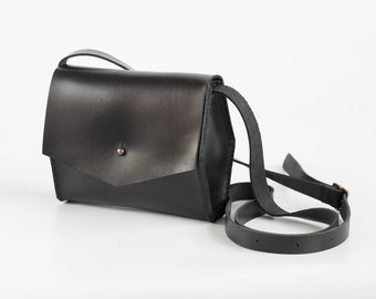 Black Leather Geometric Crossbody Bag