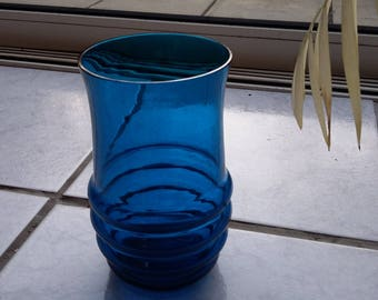 Blue Retro Art Glass Vase.