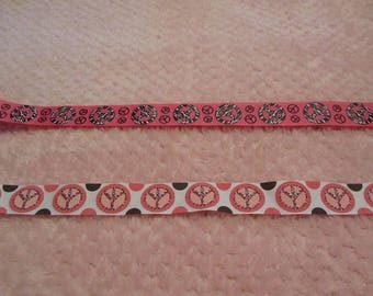 3 Yards Peace Theme One Inch Grosgrain Ribbon