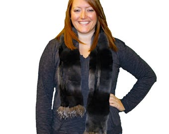 Glacier Wear Rex Rabbit Fur Scarf Fox Trim fsf4024