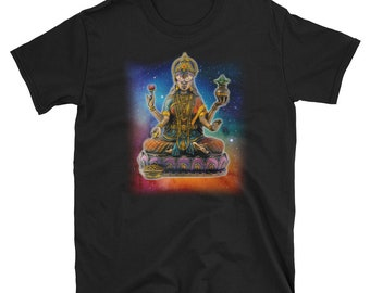 Lakshmi Hindu India Wealth Prosperity Lotus Goddess t-shirt