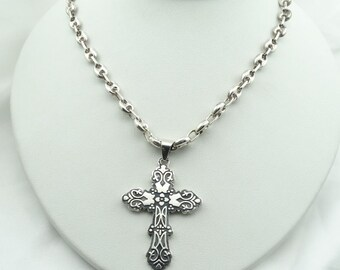 Antique Solid Sterling Silver Mexican Cross On A Heavy 20 Inch Sterling Silver Anchor Chain!   #ANCHOR-XP3