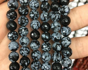 8mm Natural Snowflake Obsidian Beads, Black White Gemstone Beads, Faceted Beads, Round Beads, Loose Stone Beads Wholesale 15''