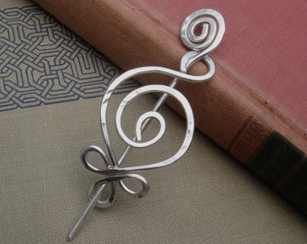 Celtic  Budding Spiral Sterling Silver Shawl Pin, Scarf Pin, Fastener, Sweater Brooch, Wrap Closure Mother's Day Gift,  Knitter Gift, Women