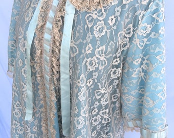 Powder Blue Odette Barsa Ribbon and Lace Robe