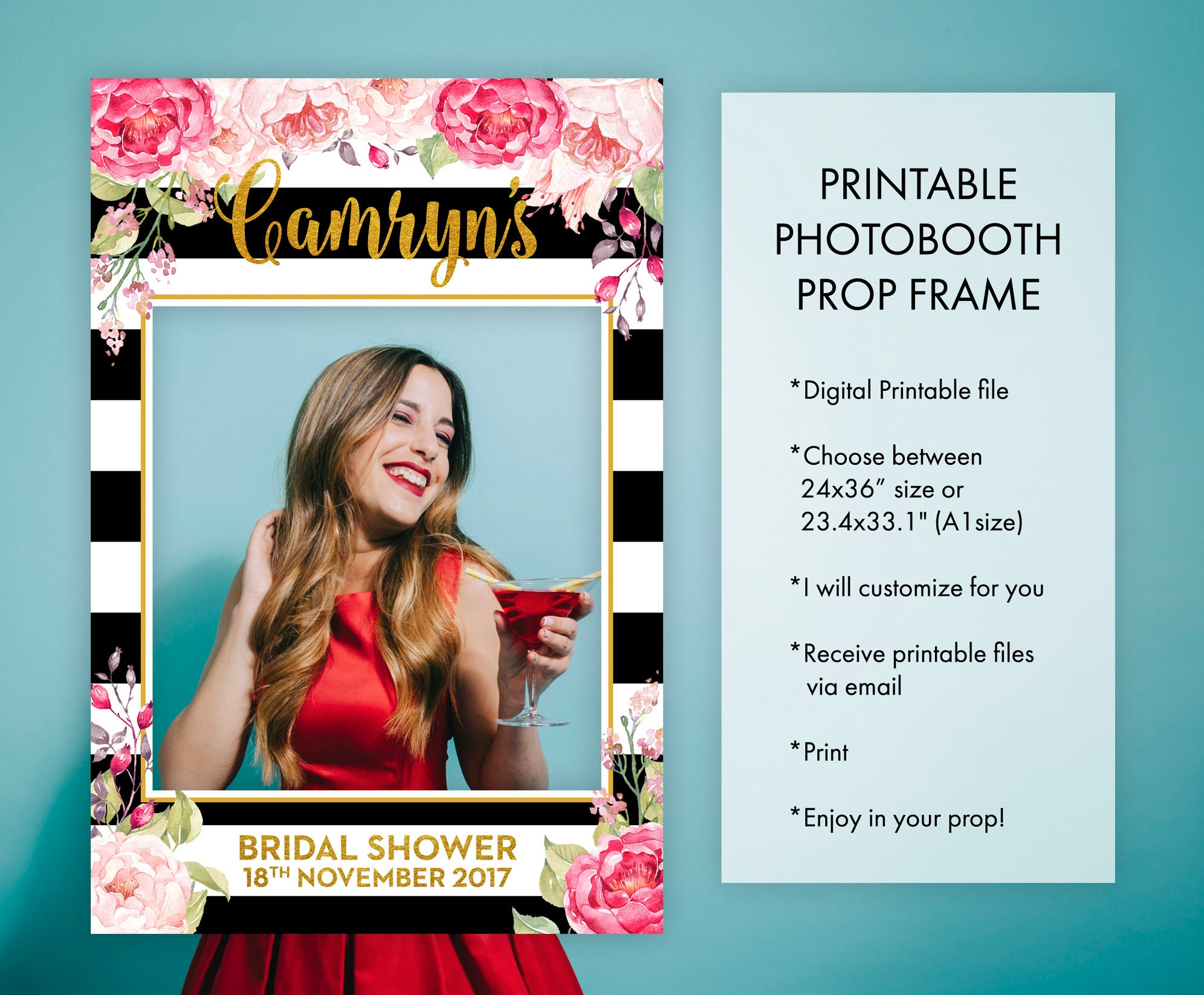 Bridal shower photo booth frame props floral pink black and zoom jeuxipadfo Choice Image